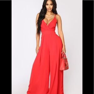 Red Wide Leg Jumpsuit NWT